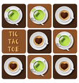 Tic-Tac-Toe of green tea and cappuccino vector image vector image