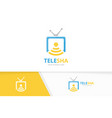 tv and wifi logo combination television vector image