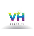 vh v h colorful letter origami triangles design vector image vector image
