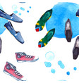watercolor seamless pattern with shoes vector image