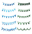Watercolor set vintage green garlands for party vector image