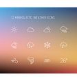 weather thin line icon set vector image vector image