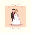 wedding card with married couple vector image vector image