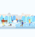 winter city park kids on ice rink figure skating vector image vector image