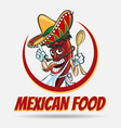 mexican food emblem vector image