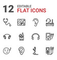12 listen icons vector image vector image