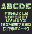 alphabet letters numbers and signs from mosaic vector image vector image