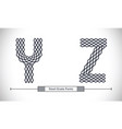 alphabet steel grate style in a set yz vector image vector image
