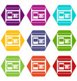 atm icon set color hexahedron vector image vector image