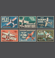 aviation retro airplanes posters vector image vector image