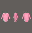 babodysuit pink infant romper with long sleeve vector image