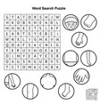 black and white body parts word search puzzle vector image vector image