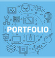 blue line flat circle portfolio vector image vector image