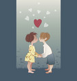boy and girl kissing vector image vector image