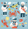 cartoon chief cooks holding fried fish lobster vector image vector image