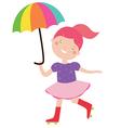 Circus girl with umbrella vector image