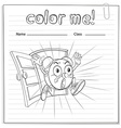Coloring worksheet with a clock vector image vector image