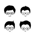 cute geek boys icons set vector image vector image