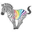 cute naturalistic zebra with rainbow stripes vector image