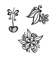 Decorative Cherry Branch Set vector image vector image