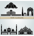 Delhi landmarks and monuments vector image
