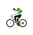 deliveryman rides on bike isolated vector image vector image