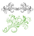 floral decorative ornament green flower branch vector image vector image