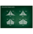 Four Types of Population Pyramids on Chalkboard vector image vector image