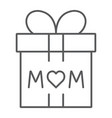 gift for mom thin line icon present and holiday vector image