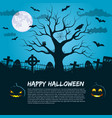 halloween poster with silhouette dead tree vector image vector image