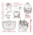 hand drawn vintage holidays set vector image vector image