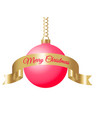hanging red christmas ball on golden chain with vector image