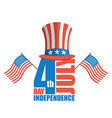Independence Day in America Uncle Sam hat and USA vector image vector image