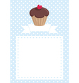 Invitation card with cupcake and polka dots vector image vector image