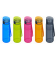 isometric set sport water bottle colorful vector image