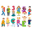 kids alphabet children with cartoon font vector image vector image