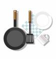 kitchen utensils top view vector image vector image