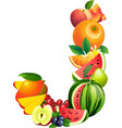 Letter J composed of different fruits with leaves vector image vector image