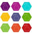liquid soap icons set 9 vector image vector image