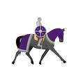 medieval knight in metal armor with round violet vector image vector image