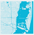 miami florida us city map in blue colors outline vector image
