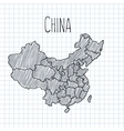 Pencil hand drawn China map on paper vector image vector image