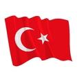 political waving flag of turkey vector image vector image