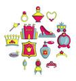 princess doll icons set cartoon style vector image