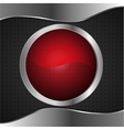 red glass banner on metal bacground vector image vector image