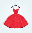 Red vintage style party dress vector image vector image
