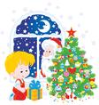 Santa and Boy with Christmas gift vector image vector image