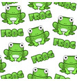 seamless pattern cute cartoon square green frog on vector image vector image