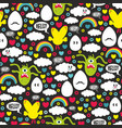 seamless pattern wit monsters and chicken mutantes vector image vector image