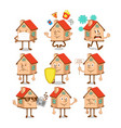 set collection cartoon character houses vector image vector image